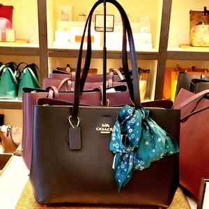COACH LEATHER LG AVENUE CARRYALL TOTE & SILK DMD